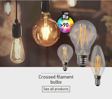 Crossed filament bulbs