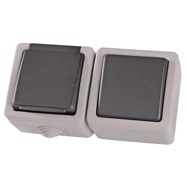 Schuko Socket Outdoor With Switch A  R Grey Ip54