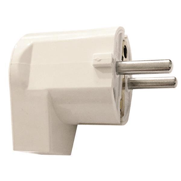 Plug Schuko Male Right Angle White 16a 250v